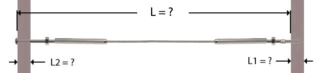 Câble avec sertissage d'une terminaison filetage interne et vis métrique tête bombée avec écrou à une extremité et de l'autre d'une terminaison filetage interne et goujon filetage bois / métrique avec écrou