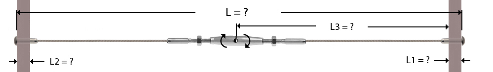 Câble avec sertissage d'un ridoir fileté au centre et à chaque extrémité d'une tête bombée