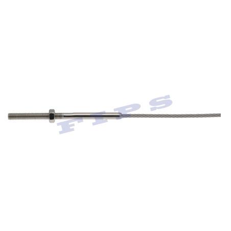 Câble souple en inox 316 serti à une extrémité d'une tige en inox 316