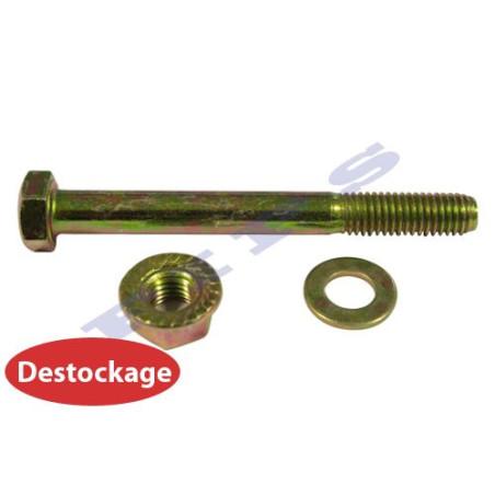 Destockage - Vis TH + rondelles + écrou embase crantée en acier zingué bichromaté