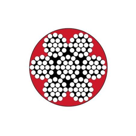 Câble extra-souple 7x19 D.4/6 mm en inox 316 gainé PVC rouge