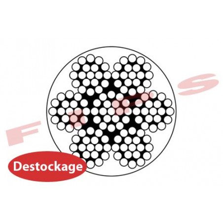 Destockage - Câble 7x19 en inox 316 diamètre 8/10 mm gainé PVC cristal - 10 mètres