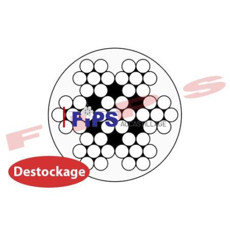 Destockage - Câble 7x7 en inox 316 diamètre 5/7 mm gainé PVC cristal - 11.7 mètres