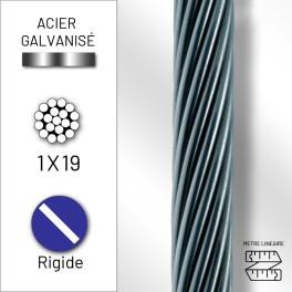Câble rigide 1x19 en acier...