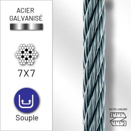 Câble souple 7x7 en acier...
