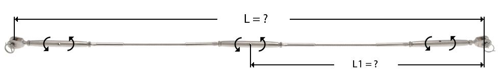 Câble avec sertissage d'un ridoir à chape à chaque extrémité