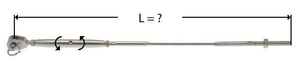 Câble avec sertissage d'un ridoir à chape à une extrémité et de l'autre d'une tige filetée