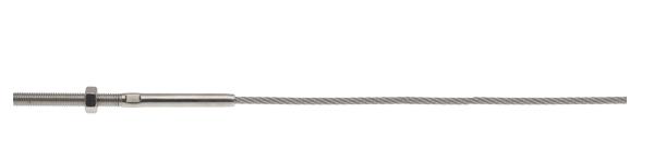 Câble inox serti d'une tige à une extrémité