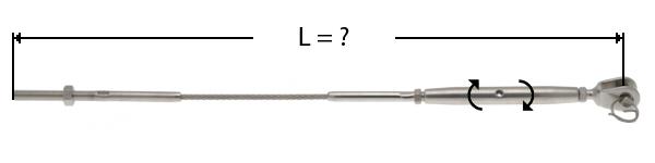 Câble avec sertissage d'une tige filetée à une extrémité et de l'autre d'un ridoit à chape