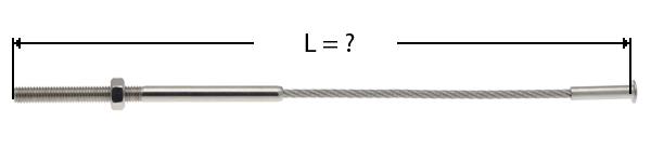 Câble avec sertissage d'une tige filetée à une extrémite et de l'autre une tête bombée