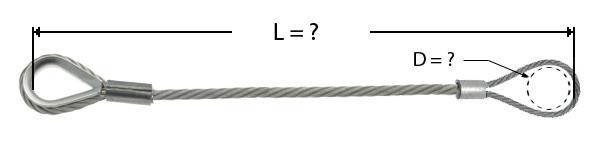 Câble avec manchonnage pour boucle à une extrémité et de l'autre d'un manchon