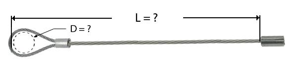 Câble avec manchonnage à une extrémité et de l'autre d'un rond d'arrêt